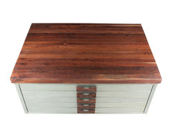 Walnut Wood Works - Walnut and Steel Draftign File Cabinet Coffee Table - This piece started life as a blueprint file cabinet in an Architects office in Nashville TN.