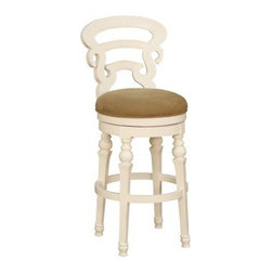 AHB Metropolitan Bar Stool - Enjoy traditional style and comfortable seating at your bar with the Metropolitan Bar Stool. Made from quality woods and veneers, this stool features finish options in cottage white and walnut. Its padded seat comes in your choice of antique white or espresso upholstery. Other features include a decorative back, turned legs, and a circular foot rail. Please note: This item is not intended for commercial use. Warranty applies to residential use only.