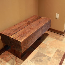 Patterson Lake Rd House - Custom built timber bench