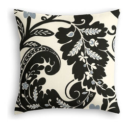 Black & White Modern Scroll Custom Throw Pillow - The every-style accent pillow: this Simple Throw Pillow works in any space.  Perfectly cut to be extra fluffy, you'll not only love admiring it from afar but snuggling up to it too!  We love it in this modern swirling paisley-esque print in black & white with touches of silver. go ahead, go wild!