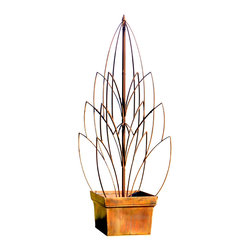 H Potter - Lotus Bud Garden Trellis - Climb the heights of gardening passion with this grand trellis. At about five-and-a-half feet high, it will make any vine soar and give a great, classic structure to your patio or garden beds. The sculptural lotus shape is crafted of iron in a rusty brown finish.