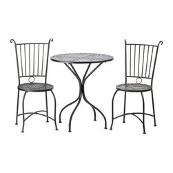 "n/a - Patio Bistro Set - Dine in style with this lovely patio set!  Enjoy breakfast lounging in the morning sun or afternoon tea in the garden with this comfortable and attractive black metal trio.  The set includes a round lattice-table with two matching chairs.  Metal.  Some assembly required.  Table: 27.50"" x 27.50"" x 30"" high.  Each chair:  19"" x 19"" x 37"" high."