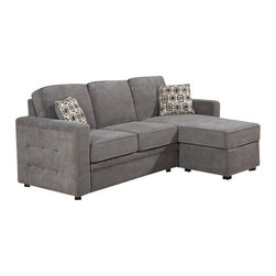 "AC Pacific - 2 pc Lucas charcoal fabric upholstered sectional sofa with reversible chaise - 2 pc Lucas charcoal fabric upholstered sectional sofa with reversible chaise and throw pillows. This set features the sectional with chaise and tufted arm design.  Sectional measures approx. 86"" x 50"" Long chaise x 35"" D x 38"" H.   Some assembly required."