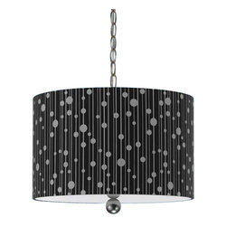 Candice Olson - Candice Olson Drizzle Transitional Pendant Light X-H3-2448 - Drizzle is influenced by but not obsessed with nature. The key design element is a stylized interpretation of raindrops, executed with a playful, light and modern attitude. Our pendants are hand printed on a poly cotton sateen fabric and include a full swag kit with an on off switch. Black Shade. 15 feet of chain included.