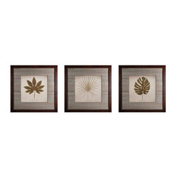 Sterling Industries - Decorative Wall Art, Leaves, Set Of 3 - Decorative Wall Art, Leaves, Set of 3