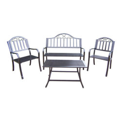 Oakland Living - 4-Pc Outdoor Seating Set - Includes loveseat, two arm chairs and coffee table. Crisp and stylish traditional lattice pattern and scroll work. Lightweight. Metal hardware. Fade, chip and crack resistant. Warranty: One year limited. Made from durable tubular iron. Hammer tone bronze hardened powder coat finish. Minimal assembly required. Chair: 21.5 in. W x 23 in. D x 34 in. H (28 lbs.). Loveseat: 50 in. L x 24 in. W x 34 in. H (42 lbs.). Coffee table: 36 in. W x 16 in. D x 18 in. H (20 lbs.)The Oakland Rochester Collection combines practical designs and modern style giving you rich addition to any outdoor setting. This seating set will be beautiful addition to your patio, balcony or outdoor entertainment area. Our seating sets are perfect for any small space or to accent larger space. We recommend that products be covered to protect them when not in use. To preserve the beauty and finish of the metal products, we recommend applying epoxy clear coat once year. However, because of the nature of iron it will eventually rust when exposed to the elements.