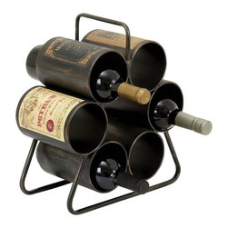 Woodland Imports - Woodland Imports Space Saver 6 Bottle Wine Rack - 34885 - Shop for Wine Bottle Holders and Racks from Hayneedle.com! Stow your favorite wines in simple style with the Woodland Imports Space Saver 6 Bottle Wine Rack. This traditional piece is crafted of sturdy metal finished in weathered black and accented by vintage wine labels for a rustic antique look. This handy storage rack carries up to six wine bottles.