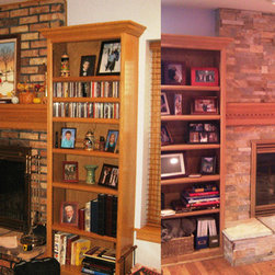 RealStone Systems - Before/After Fireplace Projects - This is a great Before/After look at an example of a quick and easy way to completely transform the look of your fireplace, simply by re-facing it. We coved over the existing stacked brick with a stone veneer from RealStone Systems and replaced the hearth stones with a matching stone. The result is a totally new look that brightens up the entire room.