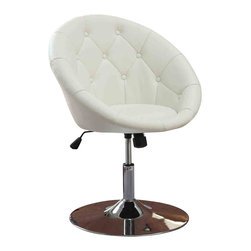 Adarn Inc - Faux Leather Tufted Swivel Adjustable Air Lift Dining Chair, White - This cool contemporary faux leather diamond tufted back swivel dining chair will be a stylish addition to your casual dining room. The curved chair back and seat are covered in a rich faux leather to complement your taste. A shiny steel base with a high polished chrome finish supports the chair, adding a unique touch to this sophisticated chair. Transform your dining room with this bold contemporary look. Choose from black, white, or purple for your choice of color. The chair adjusts from 32 to 36 inches in total height to find the comfortable seating height for your table. It pairs nicely with the chrome base glass pedestal table.
