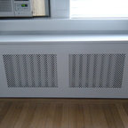 Prewar Radiator Covers - Custom removable panel with white clover screen style.