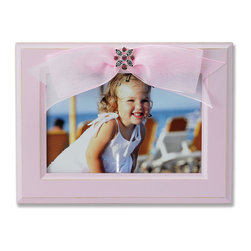 Lawrence Frames - 4x6 Pink Wood Picture Frame with Pink Ribbon - Elegant 4x6 slightly distressed powder pink wood picture frame with pink ribbon and jewel adorned decorative ornament.   High quality black wood backing with easel for table top display.  Individually boxed.