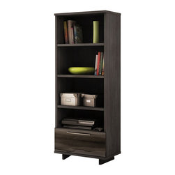 South Shore - South Shore Reflekt 4-Shelf Bookcase in Gray Oak Finish - South Shore - Bookcases - 4337652 - Elegant design is a fundamental of the Reflekt four-shelf bookcase. With its rich ultra-trendy Grey Oak finish and Black lacquer-finish drawer front this piece is designed to become part of any modern d��cor gracing your living room with all the class and contemporary allure youre looking for. The open storage spaces are also fully adapted to todays lifestyle providing you with all the space you need for your electronics and much more! And you can combine this shelf with the Reflekt TV stand to create various configurations based on your needs._�