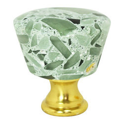"""Pierre Habitat - Diamond Ferrule Cabinet Knob - Circle - Make all your home cabinetry """"pop"""" with these stylish Diamond Ferrule Circle knobs from Pierre Habitat. Made with recycled glass that is totally green and sustainable. These pulls not only look good, they are good - for both you and the planet.  Planet-Friendly Hardware designed for you by Pierre Habitat. Sold Single."""