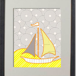Yellow and Gray - 8x10 print in yellow grey.