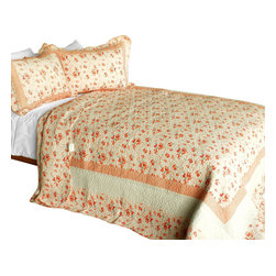 Blancho Bedding - Les Coristes 3PC Contained Vermicelli-Quilted Patchwork Quilt Set  Full/Queen - Set includes a quilt and two quilted shams (one in twin set). Shell and fill are 100% cotton. For convenience, all bedding components are machine washable on cold in the gentle cycle and can be dried on low heat and will last you years. Intricate vermicelli quilting provides a rich surface texture. This vermicelli-quilted quilt set will refresh your bedroom decor instantly, create a cozy and inviting atmosphere and is sure to transform the look of your bedroom or guest room. Dimensions: Full/Queen quilt: 90 inches x 98 inches  Standard sham: 20 inches x 26 inches.