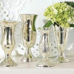 """Queen Anne's Silver Vases - Nothing says """"welcome"""" like a room and bathroom graced by freshly cut flowers. These bud vases are great for displaying a few stems. When it comes to flowers, we say the more, the better. A vase in the bathroom, on the bedside table and on the desk brings the outside into your luxurious space."""