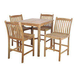 International Home Miami - Amazonia Teak Eden 5-Piece Teak Bar Set - Get your patio party ready with this chic, sturdy bar set. Crafted from 100 percent teak and featuring a tall square table and four handsome stools, it's good looking, decidedly durable and totally ready to take on your next outdoor soiree (or relaxing afternoon).