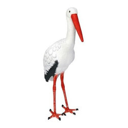 Achla - Stork Garden Statue in White - Enliven your outdoor décor with this stork garden statue. Made with durable and lasting aluminum for exceptional value, it has amazing attention to detail and a lifelike silhouette. Perfect anywhere in your yard, it has a white finish with orange and black accents. Orange, Black & White finish