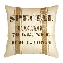 Pillow Decor - Pillow Decor - Cacao Bean Brown Print Throw Pillow - You don't have to be a cacao bean merchant to appreciate the rustic charm of this large 24 x 24 inch square throw pillow. Made from a soft and sturdy broad weave fabric, this fun decorative throw pillow will add comfort, charm and conversation to your home.