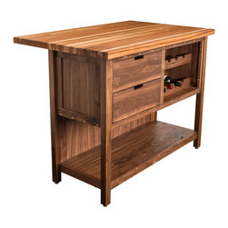 Boles Studio - Walnut and Hickory Kitchen Island - Walnut Island Cabinet with a Hickory butcher block top. Two storage drawers and open wine storage racks. Hand rubbed oil finish.