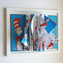 Dr. Seuss Book Sculpture by Y Instead of I - This real Dr. Seuss book has been turned into a piece of sculptural art for your wall. It is a unique way to display a childhood classic.