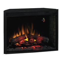 ClassicFlame - Fixed Front 33 in. Fireplace Insert w Backlit - Automatic on screen indicator. Function Indicator lights up when operated then automatically disappears after 4 seconds. Energy saving all LED technology. Requires no venting or gas lines. Upgraded realistic resin logs and ember bed. Large viewable area. Can be used with or without heat for 4 season enjoyment. 1350W 4600 BTU�۪s per hr. heater blower can heat a 400 sq. ft. room. 34 in. W x 10 in. D x 26 in. H