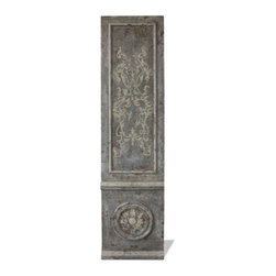 Old World Scroll Door, Royal Grey Distressed with Bone Scrolls - Old World Scroll Door, Royal Grey Distressed with Bone Scrolls