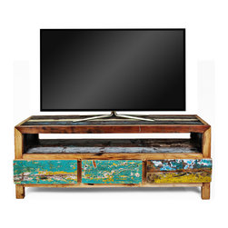 Ecologica Reclaimed Hardwood TV Stand - This stand made from reclaimed wood is quite artistic.