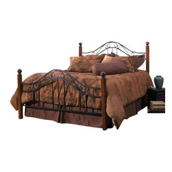 Hillsdale Furniture - Hillsdale Madison Poster Bed - Queen - Popular combination of wood and iron elements make this a great design. Square solid wood posts are combined with black metal bed grills that feature round twisted wire spindles.