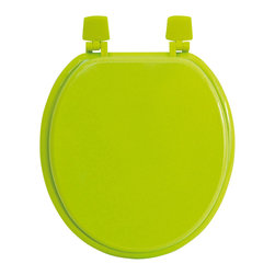 MDF Toilet Seat Anise Green Elongated - This toilet seat is in medium-density fiberboard (MDF). This standard size toilet seat has adjustable color coordinated plastic hinges (3 positions) and is easy to install with the included hardware. Comfortable with its 4 bumpers, it fits standard toilet bowls. Assembly instructions are supplied. Clean with warm soapy water. Length 17.13-Inch (max 17.56-Inch) and width 14.75-Inch. Color green. Give a decorative touch to your bathroom with this colored toilet seat! Complete your decoration with other products of the same collection. Imported.