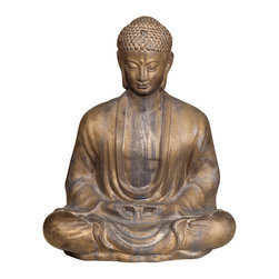 "Kathy Kuo Home - Antique Bronze Ceramic Meditating Buddha Lotus Seat Sculpture- 23""H - Seated with eyes gently cast down in deep meditation, this Meditating Buddha statue is the physical embodiment of reaching the enlightened state."
