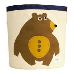 3 Sprouts - 3 Sprouts Storage Bin, Bear - Help your kids clean up their acts with our cute bear pattern animal storage bins in toffee from 3 Sprouts . This bin is well sized for storing toys or as a laundry hamper. The bin collapses for easy storage when not in use. It is made up of 100% cotton canvas and coated on the inside for easy cleaning. It is the perfect gift for babies and toddlers.