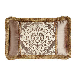 """Dian Austin Villa - Pieced Pillow with Brush Fringe 24"""" x 15"""" - GRAY/IVORY (BOUDOIR) - Dian Austin VillaPieced Pillow with Brush Fringe 24"""" x 15""""DetailsSilk with chenille-textured damask center.Finished with brush fringe.Dry clean.Made in the USA of imported silk/polyester/cotton."""