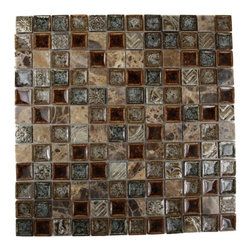 "Roman Collection Burnt Russet Glass Tile - Roman Collection Burnt Russet 1x1 Glass Tile These gorgeous mosaics are hand pressed and hand filled. Each glass chip are hand pressed and then filled with colored crushed glass chips tocreate an intensely faceted surface that capture and reflects light, making it look like thousand tiny diamonds. Great to use as a back splash, or any decorated spot in your home. Chip Size: 1x1 Color: Brown and Dark Emperidor Material: Dark Emperidor and Porcelain Shell Filled with Crushed Glass, Copper Metal Decos Finish: Crackled Glass and Colored Chips Enveloped in Porcelain Sold by the Sheet - each sheet measures 12""x12x (1 sq. ft.) Thickness: 8mm Please note each lot will vary from the next."