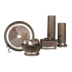 Five Piece Decorative Accessory Set - Metallic - Give your space an instant designer makeover by adding the Five Piece Decorative Accessory Set - Metallic. All pieces in this set are made of poly resin with a modern ribbed texture and metallic finish. It includes a charger plate with iron stand, footed bowl with three decorative balls, a lidded catch-all box, and two candle holders.About StyleCraftBased in Southaven, Mississippi, StyleCraft has been providing consumers with lighting, wall decor, and other home accessories since 1968. They began as a small local lamp company and have grown to become an internationally known designer and producer of top quality home items. StyleCraft's success lies in their moderate pricing coupled with their high-end materials and attention to detail, which make their products ideal for any home. Add warmth, design, and functionality to your surroundings with a StyleCraft product.