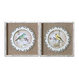 Grace Feyock - Grace Feyock Bird Stamps Frame Wall Art X-11055 - The bird prints are applied over the loosely woven burlap mats then surrounded by the decorative, scalloped detailing that is made of metal and finished in white. Frames are heavily distressed white with medium brown undertones and light gray wash. Prints are under glass.