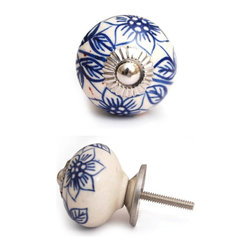"Knobco - Ceramic Knob, White with Blue Flowers - White ceramic cabinet knob with blue flowers and a metal front, perfect for your kitchen and bathroom cabinets! The knob is 1.7"" in diameter and includes screws for installation."
