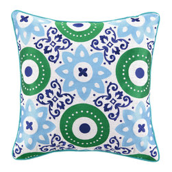 """Jennifer Paganelli - Jennifer Paganelli Adalina Blue Embroidered Pillow - Vintage scrolls, modern medallions and graphic flowers make up the the funky, collage design of the Adalina throw pillow. Finished with teal blue piping, its vibrant sky blue and grass green embroidery lends a rich, textured look and adds visual pop to a contemporary room. 18"""" Sq; 100% linen pillow with embroidered detail; Down fill insert included; Hidden zipper; Dry clean only"""