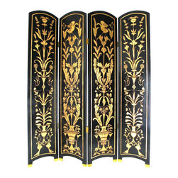 Wayborn - Wayborn Floral Vine Room Divider in Black/Gold - Wayborn - Room Dividers - 2237 - Wayborn coromandel screen start with a cedar plywood frame covered in a cheesecloth material. Then layer after layer of plaster is applied; each layer must dry before another layer can be applied. After all the plaster has been applied several coats of lacquer is put over the entire surface. The design is drawn onto life-sized paper and carefully traced on to the panels. The craftsman then hand carves the design into the screen through the lacquer into the plaster. Once the screen is done it is painted with water based paint or silver/gold leaf is applied and sealed with a clear lacquer coat.