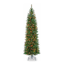 6 1/2 Ft. Kingswood Fir Pencil Christmas Tree with 250 Multi Lights - Measures 6.5 feet tall with 28 inch diameter. Pre-lit with 250 UL listed, pre-strung multicolor lights. Tip count: 719. All metal hinged construction (branches are attached to center pole sections). Comes in three sections for quick and easy set-up. Includes sturdy folding metal tree stand. Light string features BULB-LOCK to keep bulbs from falling out. If one bulb burns out the others remain lit. Fire-resistant and non-allergenic. Includes spare bulbs and fuses. 5-year tree warranty / 2-year lights warranty. Packed in reusable storage carton. Assembly instructions included.