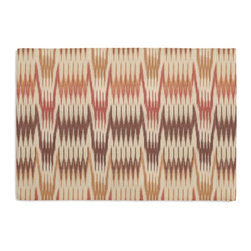 Pink & Orange Flame Stitch Custom Placemat Set - Is your table looking sad and lonely? Give it a boost with at set of Simple Placemats. Customizable in hundreds of fabrics, you're sure to find the perfect set for daily dining or that fancy shindig. We love it in this handwoven flame stitch fabric in cranberry red, dusty pink, & orange.  a desert sunset for the wanderer in you.