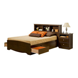 Prepac Furniture - Prepac Fremont 4 PC Double Size Bedroom Set with Tall Nightstands in Espresso (B - The Fremont 4 Pcs Double Size Bedroom Set with Tall Nightstands in Espresso (Bed, Two Nightstands and Dresser) - Prepac Furniture provides affordable elegance for those looking for designer styles without the designer budget. Six large drawers, positioned three on each side below the bed, are easy to access and accommodate clothing, or anything you need to store. Tall nightstands feature open shelves that are perfect for bedside reading material.    Bedroom Set includes Double Size Bed with Headboard, two Tall nightstands and Dresser.  Chest could be added to complete the set.