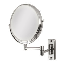 Zadro Products - Zadro 5X/1X Dual Sided Satin Nickel Wall Mirror Multicolor - OVW45 - Shop for Bathroom Mirrors from Hayneedle.com! Being 2-faced isn't so bad when you are getting ready with the Zadro 5X/1X Dual Sided Satin Nickel Wall Mirror. This satin nickel-finished wall mirror is dual-sided giving you 1X magnification on one side and 5X magnification on the reverse. The extending metal arm can place this oval mirror anywhere from 9 to 18 inches from the wall.About Zadro ProductsZadro Products has been a leading innovator in bath accessories mirrors cosmetic accessories and health products for over 25 years. Among the company's innovations are the first fogless mirror first variable magnification mirror first surround light mirror and more. Not a company to rest on its laurels Zadro continues to adapt to the ever-changing needs of modern life.
