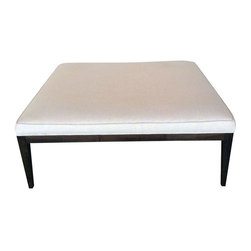 Used Modern Large Linen Square Coffee Table Ottoman - Take it from us, this Modern Coffee Table Ottoman is lux. The top is covered in a heavy Belgian linen. The base and legs are finished in a rich espresso color. Made in the USA by Dino Home Collection.