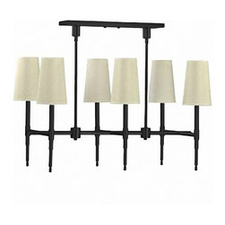 Antique Iron and Fabric shades Chandelier - Antique Iron and Fabric shades Chandelier