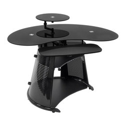 Calico Designs - Computer Desk in Black - Main Work Surface: 45.75  In. W X 25.25  In. DMonitor Shelf: 15.75  In.  In Diameter24  In. W X 10.5  In. D Adjustable Keyboard ShelfMiddle Shelf: 21.25  In. W X 15.75  In. DBottom Shelf: 28.5  In. W X 18.5  In. DUnique Contemporary DesignTempered Safety Glass Top And Monitor ShelfTop, Monitor Shelf And Keyboard Shelf Rotate Independently Around A Central Hub. 45.75 in. W x 42.5 in. D x 33.74 in. H (77 lbs) The stylish Neptune Computer Desk by Calico Designs features a cool, technology-driven design adaptable to a variety of environments and highlighted by its sturdy powder-coated steel frame and tempered black glass. The top, monitor shelf and keyboard shelf rotate independently around a central hub which help keep the main work surface clear while the Mechanically adjustable swivel arm shelf lets you set your flat-panel monitor at the most ergonomic and comfortable position that frees up valuable desk space. The bottom shelf can accommodate a CPU or printer. Its space-saving functionality makes it an ideal fit for any home or office!