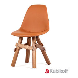 Kubikoff - Icon Pop Chair, Wrinkled Fuchsia Leather, Walnut Base - Icon Pop Chair