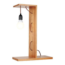 ParrotUncle - Wooden Bookshelf Pendant Bulb Table Lamp - This Wood Table Lamp has a minute extension,is very simple and practical. This lamp is perfect for your desk or a side table!