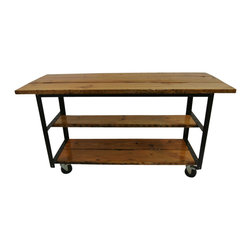 eastmantribe - Kitchen Island Table - Made from reclaimed wood and industrial angle iron, the Kitchen Island Table is as durable as you can get for kitchen, game room, or general purpose use.  Sporing two surface levels for storage, all surfaces are coated with industrial high gloss ureathane for durability.
