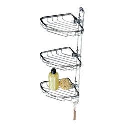 Toscanaluce - Polished Chrome Triple Corner Wire Shower Basket - Unique, stylish wall mounted bathroom triple corner shower soap basket.